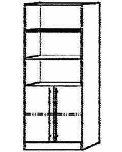 Kombiregalschrank 4 FB  grau/ Ahorn B 80cm