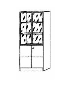 Kombiregalschrank  grau 2 FB / 2x2 T