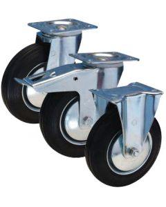 Lenkrolle Gummi mit Stahlfelge Ø 100 mm 70 kg Rollenkorblager