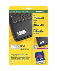 Avery Zweckform Typenschild Etiketten/ L6009-20 45, 7x21, 2 mm silber Inh.960