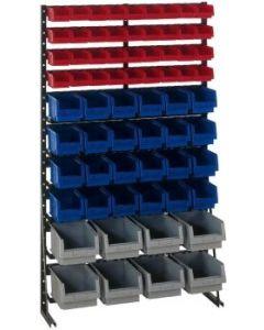 Norm-Regal-einseitig mit 68 Kunststoffkästen H1725xB1000mm