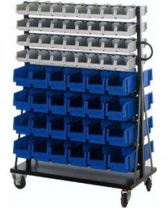 Montage-Rollwagen mit 120 Stück Sichtlagerkästen, H 1400 x B 1000 x T 500 mm