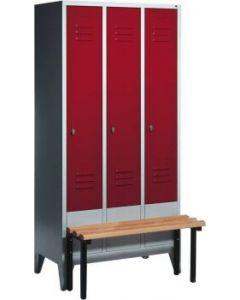 C+P Garderobenschrank mit vorgebauter Sitzbank, 1-5 Abteile