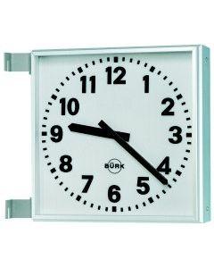 Industrie-Funkuhr zweiseitig,  60x60 cm arabische  Zahlen