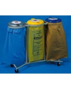 Abfallsammler 3-fach 3x120 Liter verzinkt fahrbar