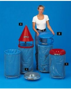 Abfallsammler Drahtkorb 75 Liter mit Kegelaufsatz rot