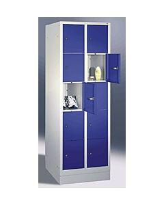 C+P Fächerschrank 2x5 Fächer 8020-205 H180xB61xT50 cm lichtgrau / blau