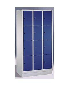 C+P Fächerschrank 3x4 Fächer 8020-304 H180xB90xT50 cm lichtgrau / blau
