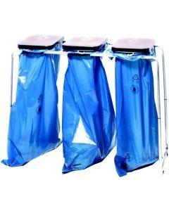 Abfallsammler 3x70 Liter stationär mit Deckel schwarz/gelb/blau