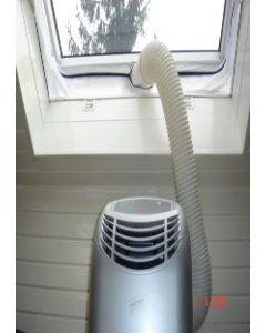 Original Hot Air Stop Fensterdurchlass / Fensterspaltverschluß / Warmluftableitung für Klimageräte mit Abluftschlauch