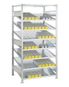 Schrägbodenregal einseitig nutzbar im Stecksystem mit Trenn und Seitenführungen