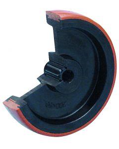 Kunststoffrad mit Polyurethan-Lauffläche und Polyamid-Felge Ø 125 mm 180 kg Rollenlager