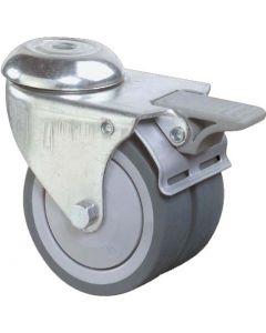 Apparate Doppelrolle mit Rückenloch Feststeller und Vollgummi-Bereifung Ø 75 mm Kugellager