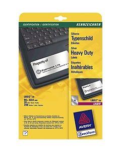 Avery Zweckform Laser-Typenschild-Etiketten L6012-20 96x50, 8 mm silber Inh.200