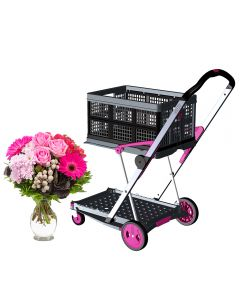 Transport-Klappmobil Clax Pink Dream Edition + Blumenstrauß mit Vase