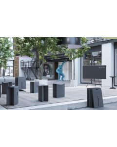 Mobile Sitzgruppe TAKEoSEAT bestehend aus 10 Falthockern dunkelgrau