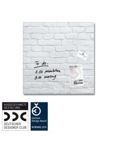 sigel Glas-Magnetboard / Magnettafel artverum® White-Klinker 48x48 cm