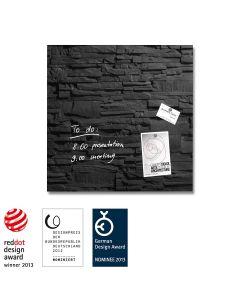 sigel Glas-Magnetboard / Magnettafel artverum® Schiefer-Stone 48x48 cm