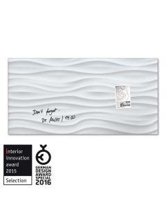sigel Glas-Magnetboard / Magnettafel artverum® White-Wave 91x46 cm