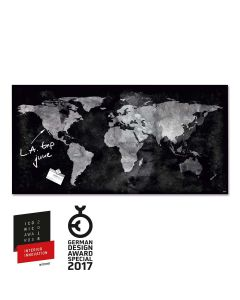 sigel Glas-Magnetboard / Magnettafel artverum® Worldmap 91x46 cm
