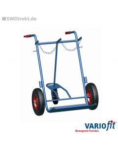 Stahlflaschenkarre für 2x40-50 Liter inkl. Stützrad, 200 kg Tragkraft