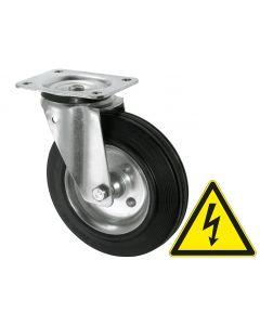 Elektrisch leitfähige Stahlblech-Lenkrolle Ø 125 mm 100 kg mit Rollenlager