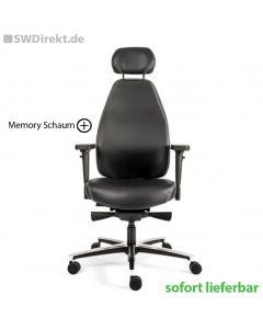 Bürodrehstuhl SW Memory L Leder mit Memory Schaum