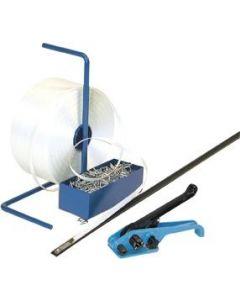 Umreifungsset inkl. Polyesterband - Bandspanner - Abrollständer und Verschlussklemmen