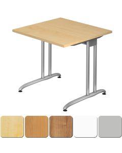 Schreibtisch 80x80 cm mit Design-C-Fuß-Gestell
