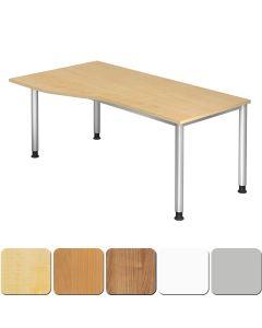 Schreibtisch 180x100 cm mit 4-Fuß-Gestell, Platte rechts oder links montierbar
