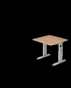 Schreibtisch 80x80 cm mit C-Fuß-Gestell silber, Platte Nußbaum Dekor