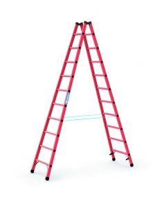 Kunststoff-Stehleiter GFK mit 2x10 Sprossen, Arbeitshöhe bis 4,15 m