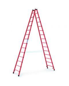 Kunststoff-Stehleiter GFK mit 2x14 Sprossen, Arbeitshöhe bis 5,2 m