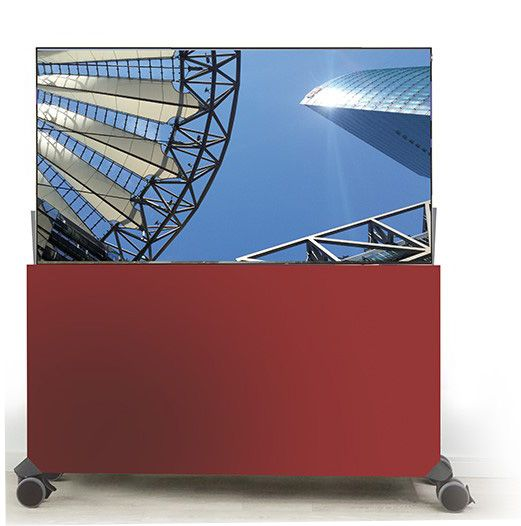 Liftboard auf Rollen inkl. 43 Zoll Flachbildschirm rot
