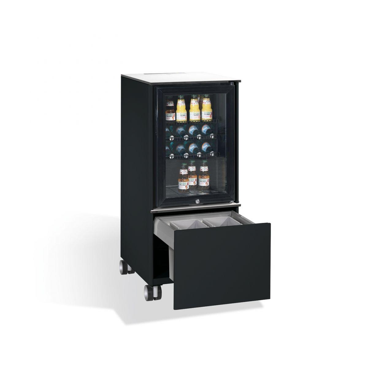 Kühlschrank Caddy mit Abfallsammler RAL 7021 anthrazit