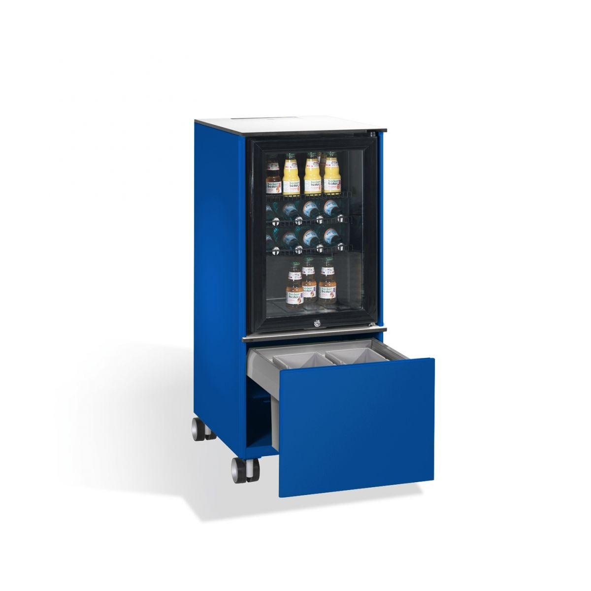 Kühlschrank Caddy mit Abfallsammler RAL 5010 enzianblau