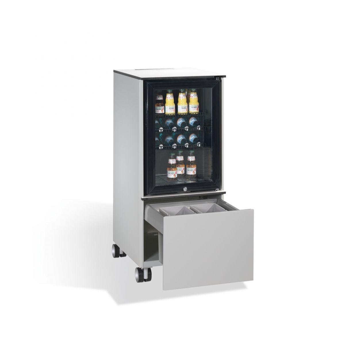 Kühlschrank Caddy mit Abfallsammler RAL 7035 lichtgrau