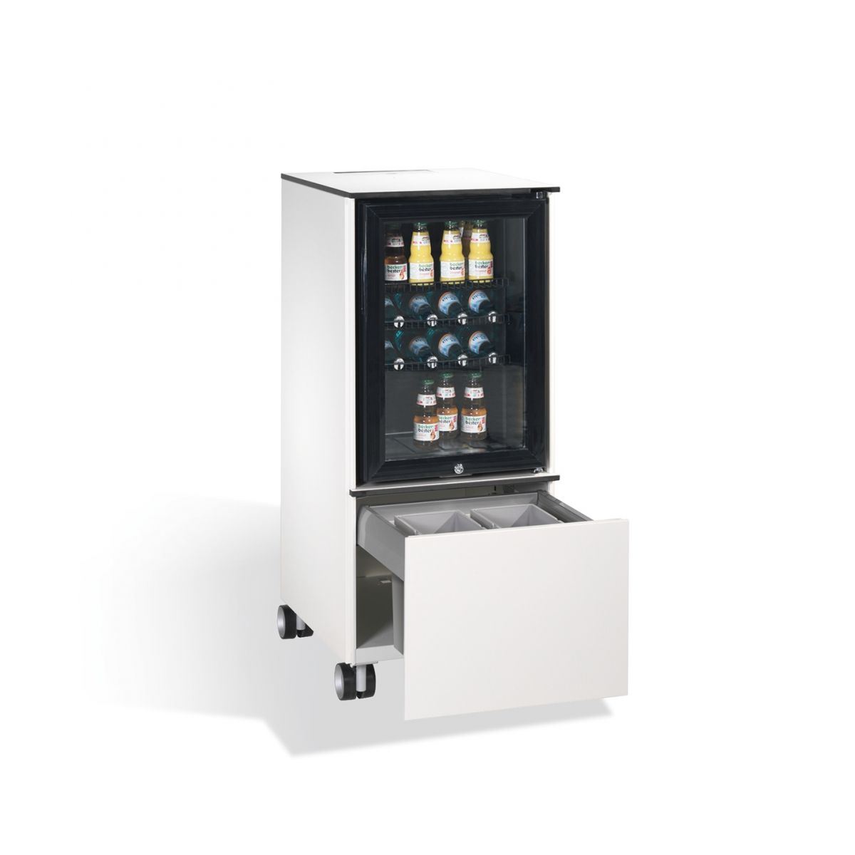 Kühlschrank Caddy mit Abfallsammler RAL 9010 reinweiß
