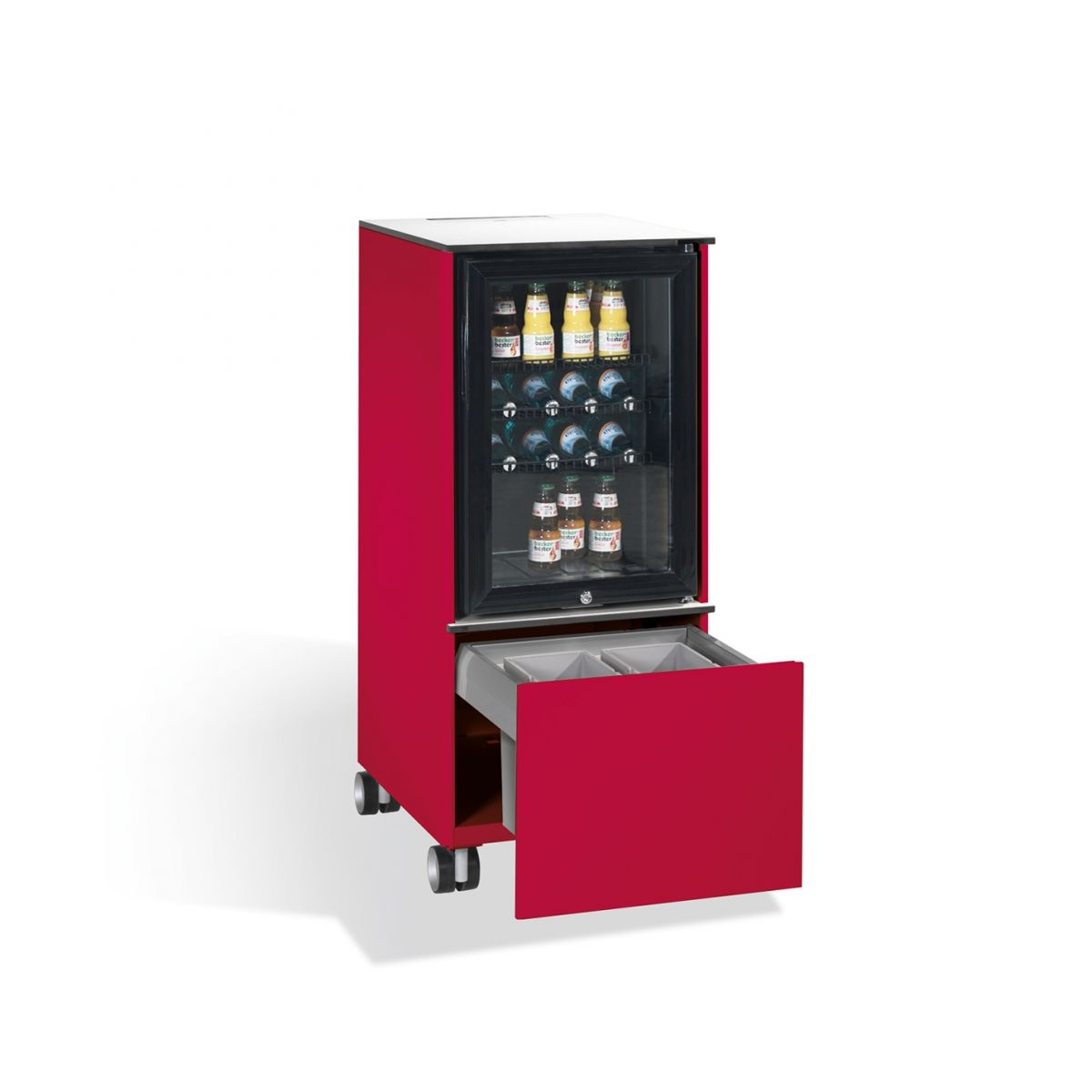 Kühlschrank Caddy mit Abfallsammler RAL 3003 rubinrot