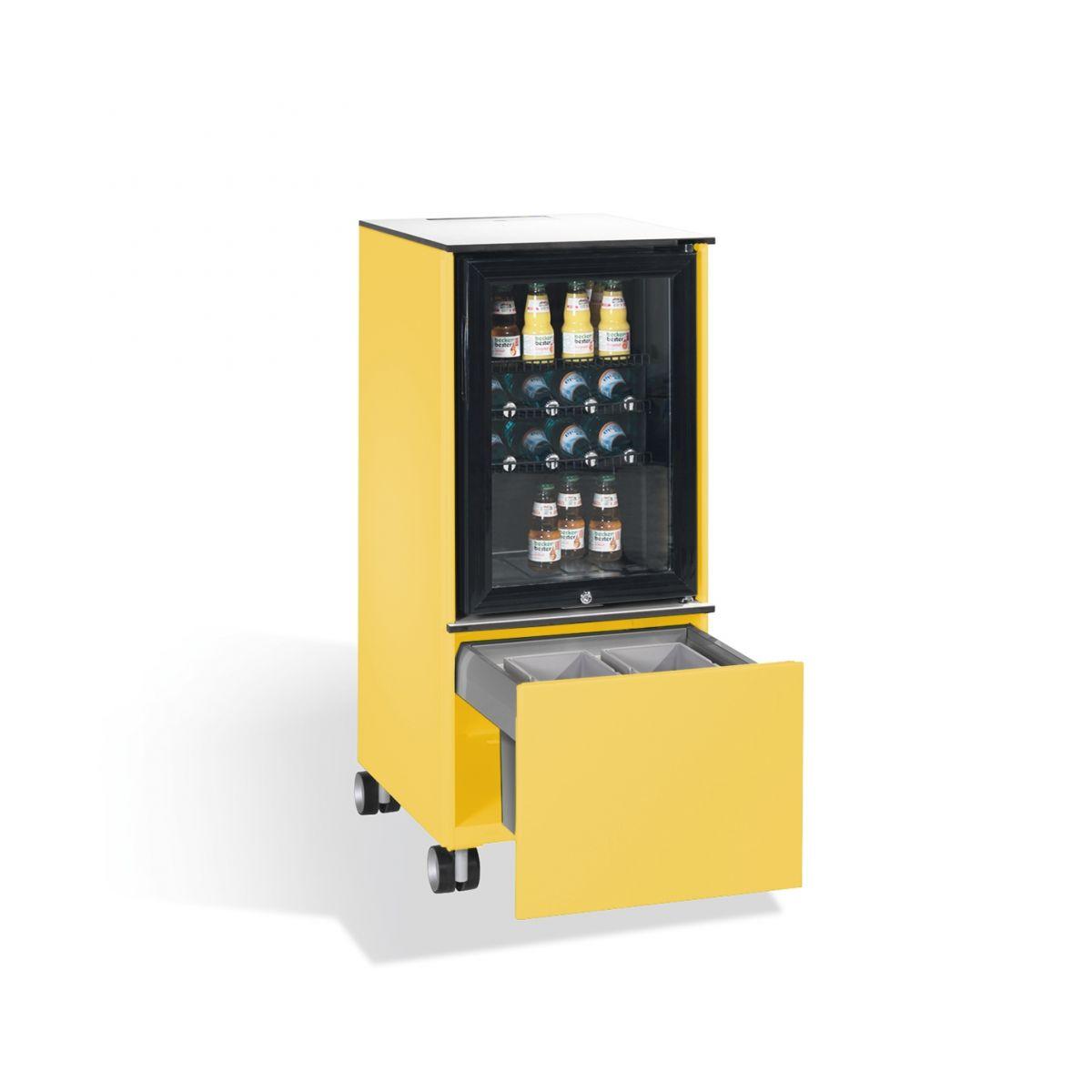 Kühlschrank Caddy mit Abfallsammler schwefelgelb