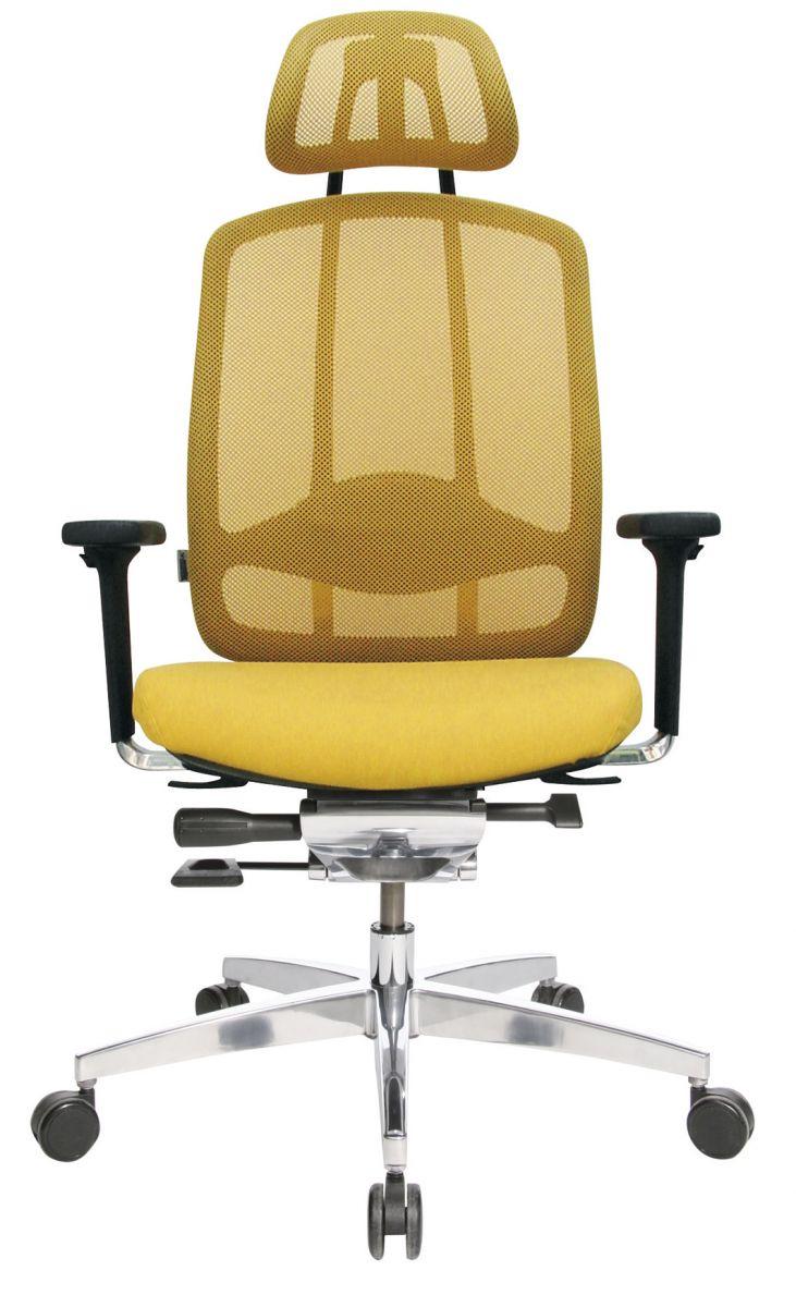 Wagner AluMedic 10 Bürodrehstuhl mit Kopfstütze gelb