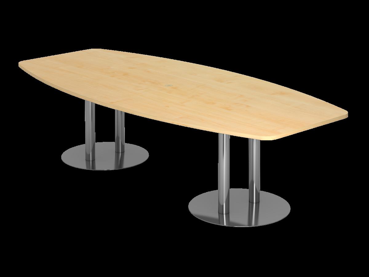 Konferenztisch 10 Personen 280x130 cm mit Säulenfüßen Tischplatte Ahorn Dekor