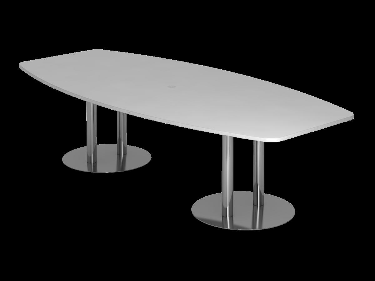 Konferenztisch 10 Personen 280x130 cm mit Säulenfüßen Tischplatte grau