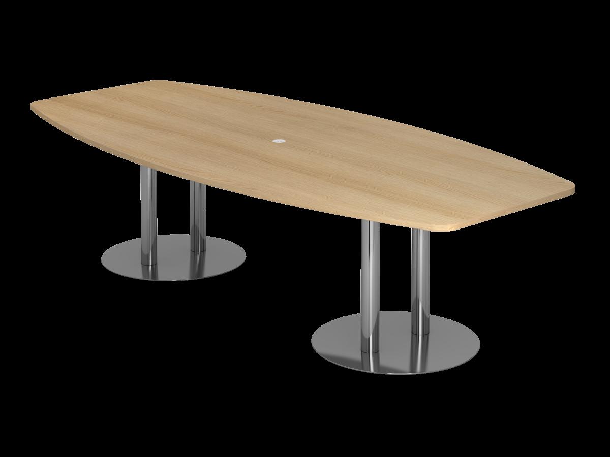 Konferenztisch 10 Personen 280x130 cm mit Säulenfüßen Tischplatte Eiche Dekor
