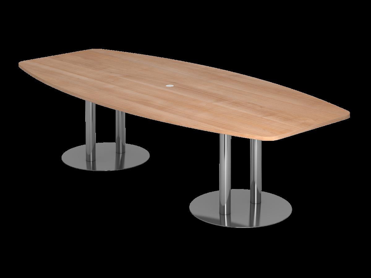 Konferenztisch 10 Personen 280x130 cm mit Säulenfüßen Tischplatte Nußbaum Dekor