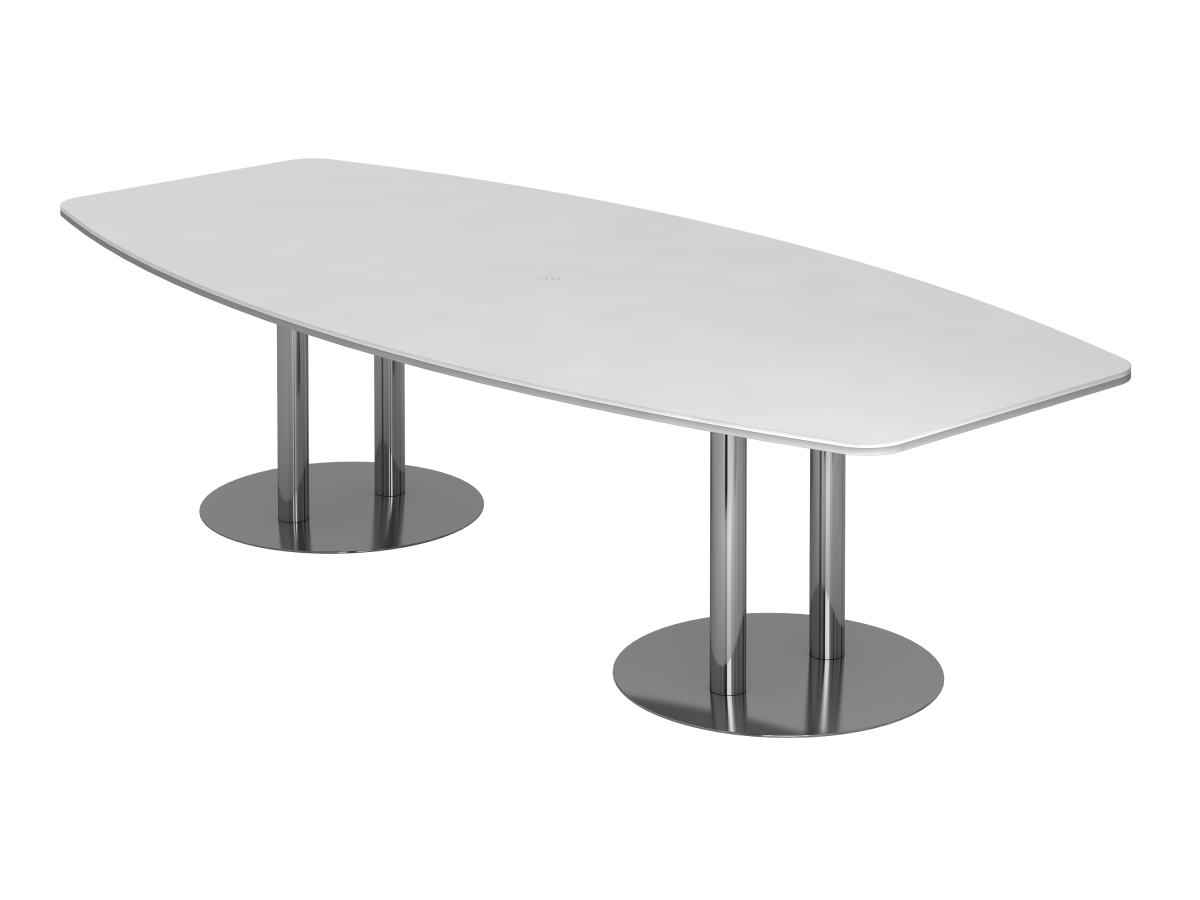 Konferenztisch 10 Personen 280x130 cm mit Säulenfüßen Tischplatte weiß