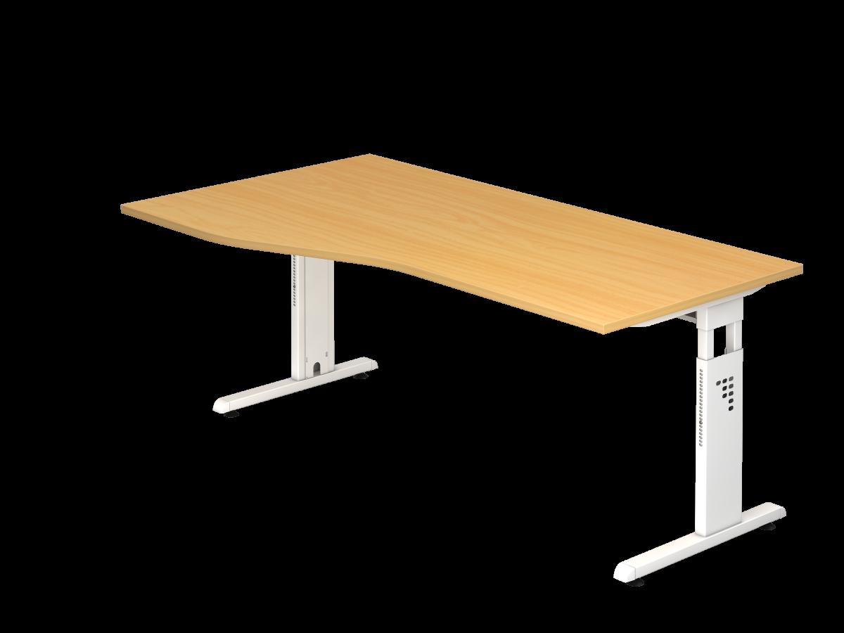 Schreibtisch 180x100 cm mit C-Fuß-Gestell in weiß, Platte Buche Dekor rechts oder links montierbar