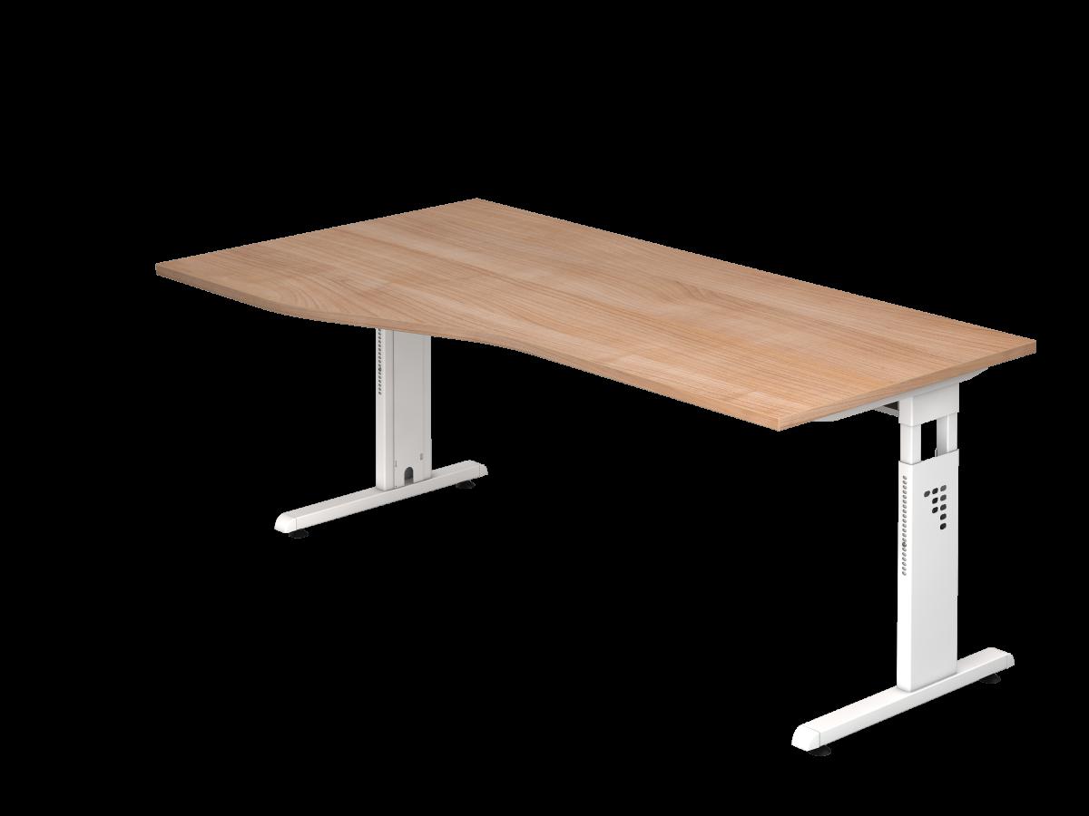 Schreibtisch 180x100 cm mit C-Fuß-Gestell in weiß, Platte Nußbaum Dekor rechts oder links montierbar