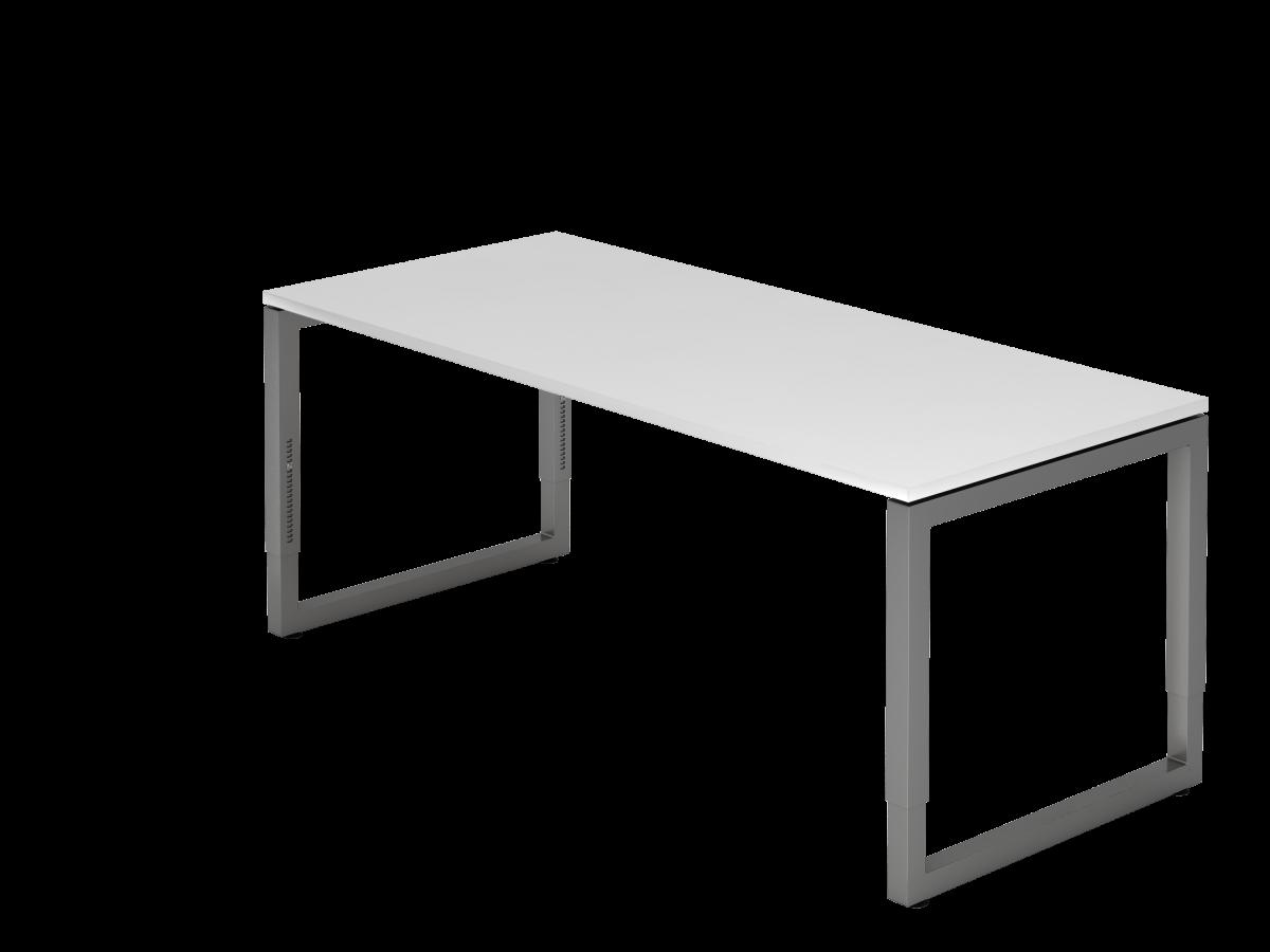 Schreibtisch mit schwebender Tischplatte 180x80 cm weiß, Gestell graphit
