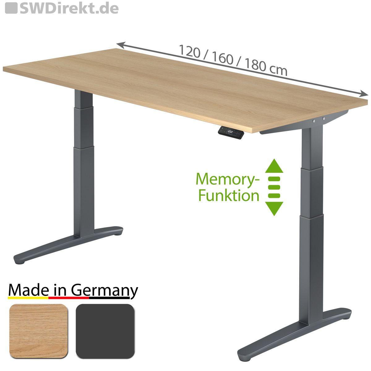 Arbeitstisch 180x80 cm elektromotorisch höhenverstellbar inkl. Memory-Funktion, Fußgestell in graphit, Tischplatte Eiche Dekor